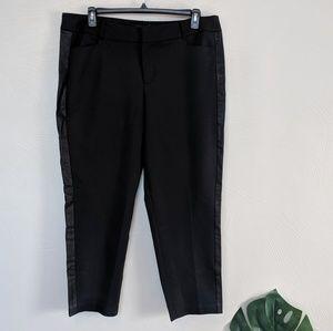 Eloquii Kady black ankle pants faux leather stripe